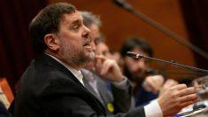 Oriol Junqueras durante su intervención en la comisión de investigación del Parlament sobre la aplicación del 155. Foto: EFE