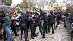 Enfrentamientos entre agricultores y antidisturbios hoy en Don Benito (Badajoz) durante la inauguración de la Feria Internacional Agroexpo.