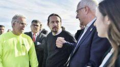 El vicepresidente segundo del Gobierno y ministro de Derechos Sociales y Agenda 2030, Pablo Iglesias; y la secretaria de Estado de Agenda 2030, Ione Belarra, visitan las zonas más afectadas por el temporal Gloria en Denia. Foto: EP