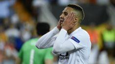 Rodrigo Moreno se lamenta ante el Arsenal.