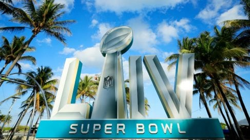 El logotipo de la Super Bowl LIV en Miami Beach (Getty).