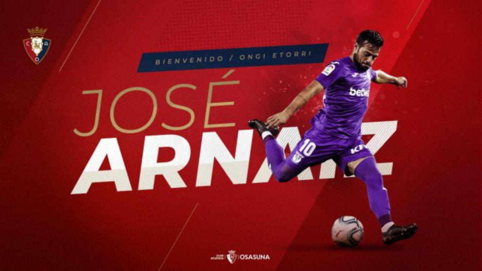José Arnaiz, nuevo fichaje de Osasuna. (Club Atlético Osasuna)