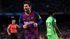 Leo Messi celebra uno de sus goles durante el Barcelona – Leganés. (AFP)