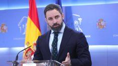El presidente de VOX, Santiago Abascal, en una rueda de prensa en el Congreso. (Foto: Europa Press)