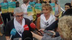 El portavoz de Etxerat, Urtzi Errazkin, en una comparencia ante los medios informativos exigiendo el acercamiento de todos los presos de ETA. Foto: EP