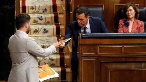 Pedro Sánchez y Gabriel Rufián, en el Congreso. Foto: EFE