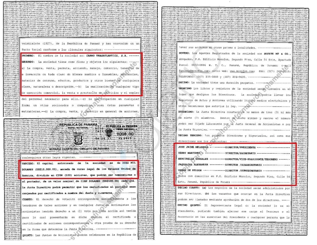 Registro de la empresa offshore en el Registro de Panamá. (Clic para ampliar)