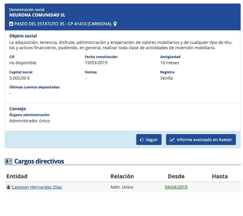 Registro de la filial de Neurona en España, la empresa que trabajó para Podemos.