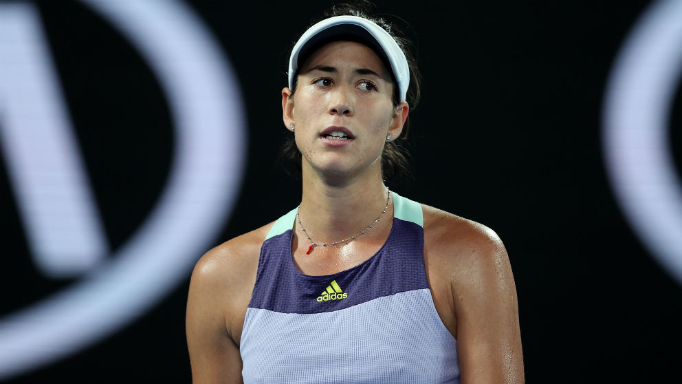 Garbiñe, en un momento de la final del Open de Australia. (Getty)