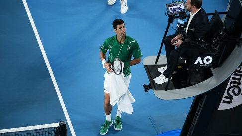 Djokovic protesta al juez de silla. (Getty)