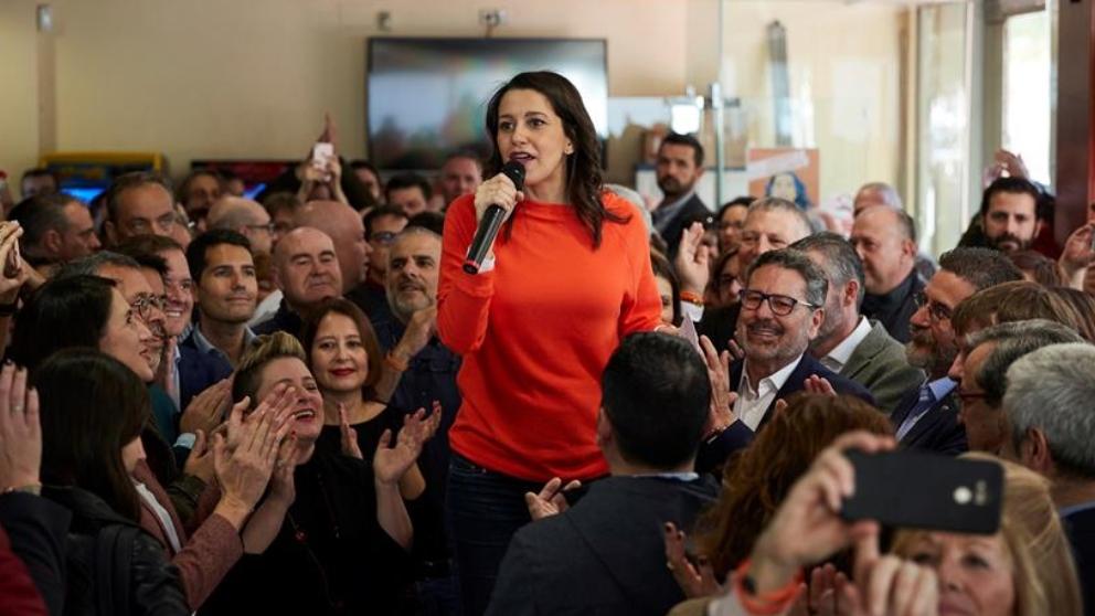 Inés Arrimadas durante un acto de Ciudadanos en Barcelona.