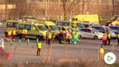 Servicios de emergencias en Barajas esperando el Air Canadá. Foto: William Criollo