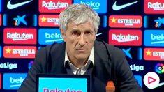 Setién, en rueda de prensa tras el partido contra el Levante.