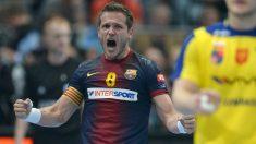 Víctor Tomás durante un partido con el Barcelona. (AFP)