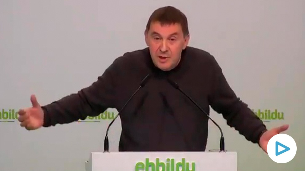 Arnaldo Otegi en rueda de prensa en la sede de Bildu: «Sostenemos al PSOE en Navarra y además hemos facilitado que haya Gobierno de PSOE y Podemos en el Estado».