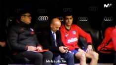Álvaro Morata en el banquillo del Bernabéu. (Movistar)
