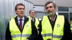 El presidente de la Xunta, Alberto Núñez Feijóo, y el presidente del CGPJ, Carlos Lesmes, hoy en Vigo