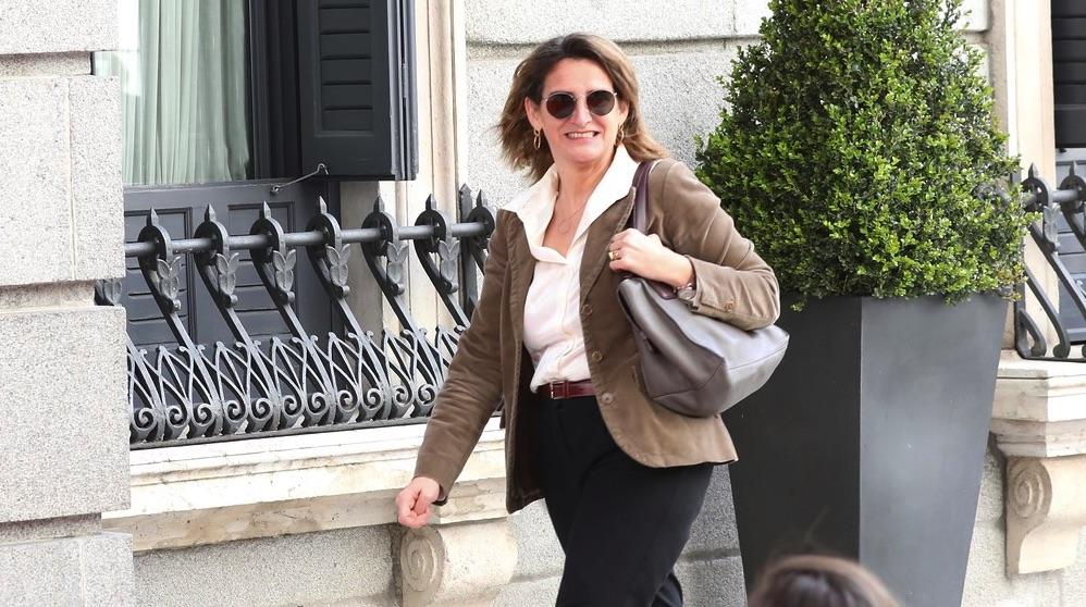La ministra Teresa Ribera llega al Congreso. (Foto. PSOE)