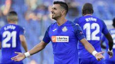 Ángel celebra un gol con el Getafe. (AFP)