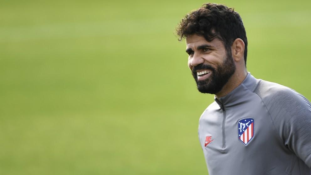 Diego Costa, en un entrenamiento del Atlético de Madrid. (AFP)