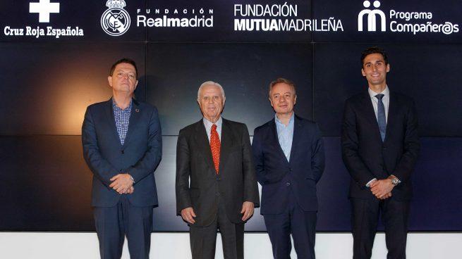 Jaime Gregori (Cruz Roja), Enrique Sánchez (Fund Real Madrid), Lorenzo Cooklin (Fund Mutua) y Alvaro Arbeloa