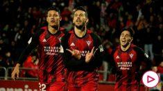 El Mirandés celebra un gol. (Europa Press)