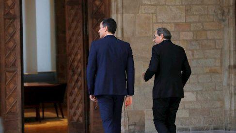 Pedro Sánchez y Quim Torra en el Palau de la Generalitat
