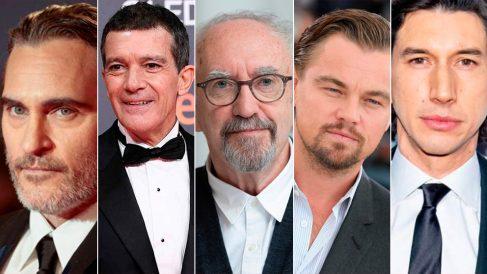 Actores nominados a los Premios Oscar 2020: Joaquin Phoenix, Antonio Banderas, Jonathan Pryce, Leonardo DiCaprio y Adam Driver.