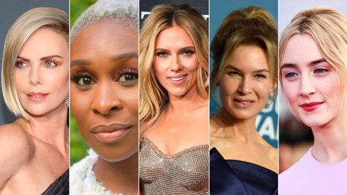 Actrices nominadas a los Premios Oscar 2020: Charlize Theron, Cynthia Erivo, Scarlett Johansson, Renée Zellweger y Saoirse Ronan.