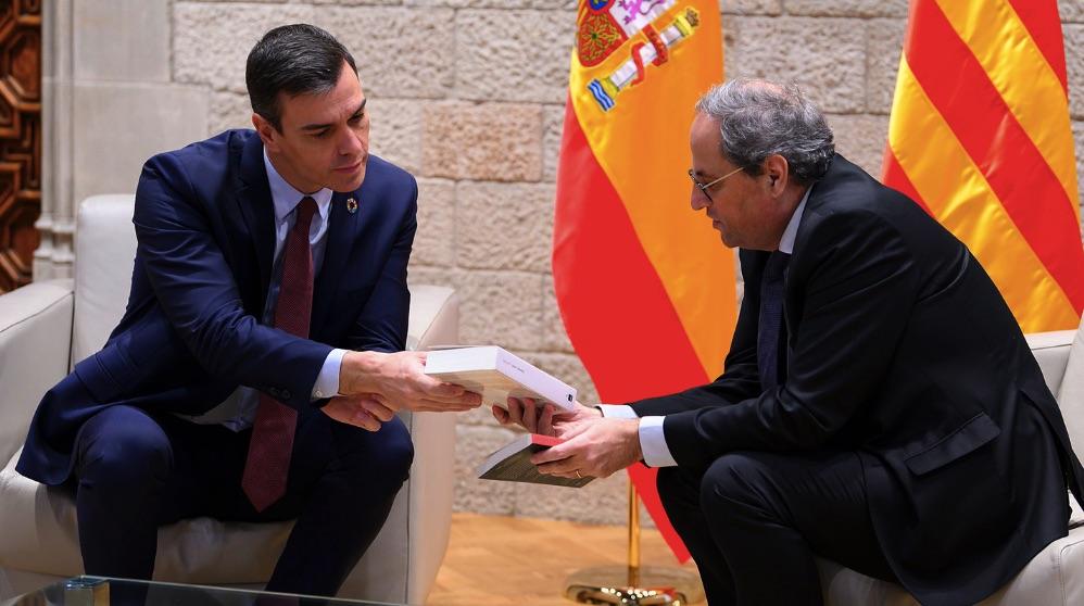 El presidente del Gobierno, Pedro Sánchez, y el president de la Generalitat de Cataluña, Joaquim Torra. (Foto. PSOE)