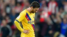 Messi, lamentándose ante el Athletic (AFP).