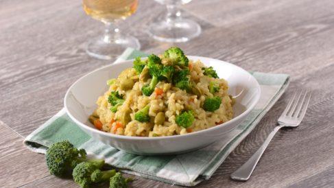 Arroz con brócoli y calamares