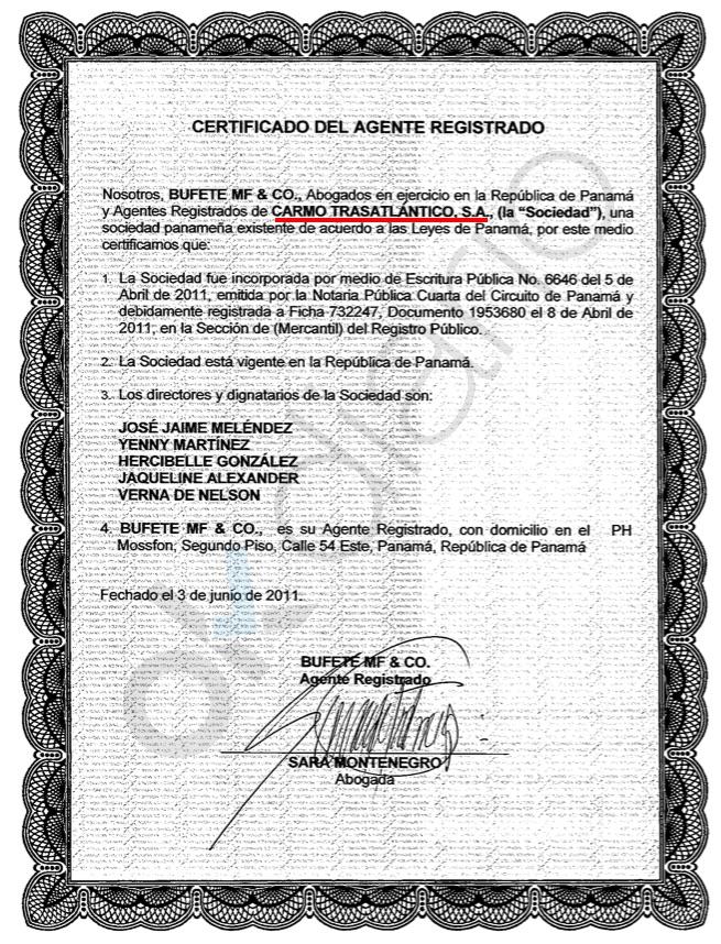 Carmo Trasatlántico SA en el registro oficial de Panamá con hombres de paja. (Clic para ampliar)