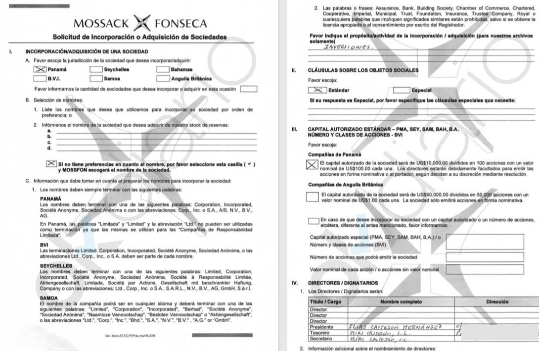 Solicitud de incorporación de sociedades en Mossack Fonseca.
