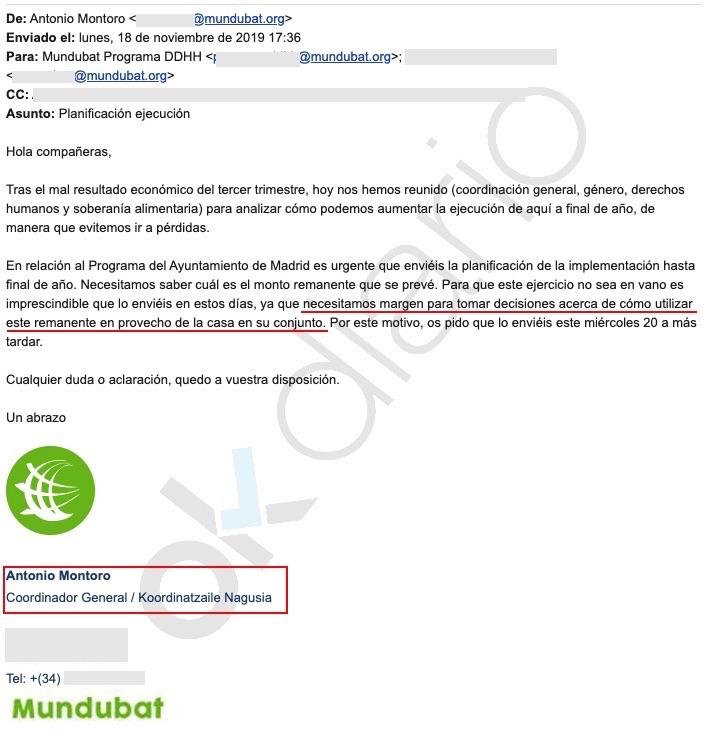 Email de la ONG subvencionada. (Clic para ampliar)