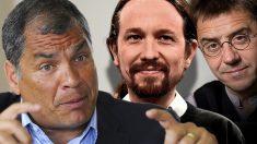 El ex presidenter de Ecuador Rafael Correa, Pablo Iglesias y Juan Carlos Monedero.