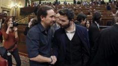 Pablo Iglesias y Gabriel Rufián. Foto: EFE