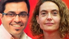 La presidenta del Congreso, la socialista Meritxell Batet, y el secretario podemita en la Mesa de la Cámara, Gerardo Pisarello.