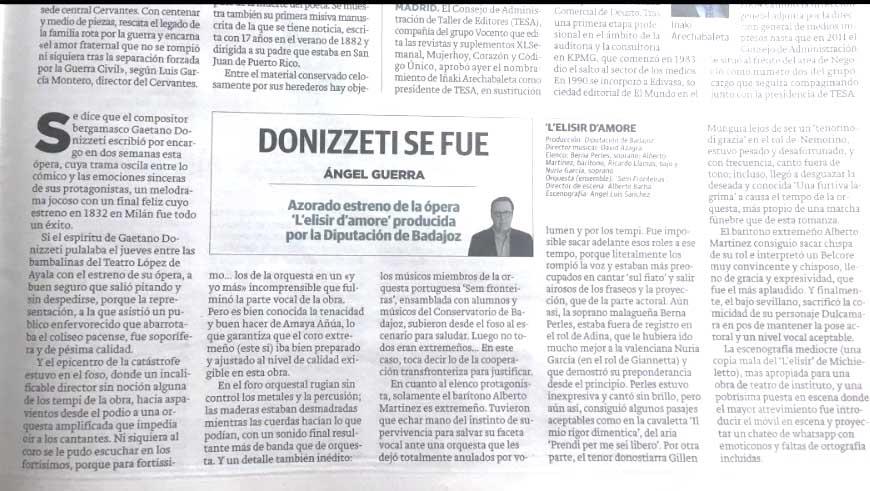 """La crítica destrozó la ópera del hermano de Sánchez: """"Incalificable director, Donizetti habría salido pitando"""""""