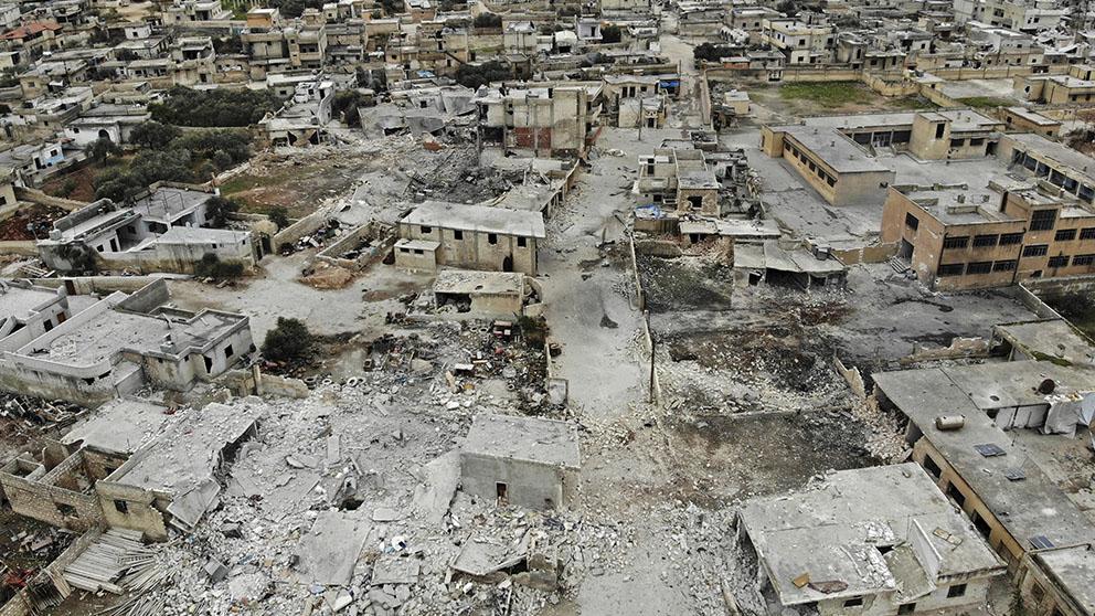 La ciudad de Maaret al-Naasan, bastión de los rebeldes en la provincia siria de Idlib, destruida por los bombardeos del ejército de Bashar al-Asad.