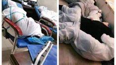 La imagen de médicos chinos exhaustos por el coronavirus se vuelve viral