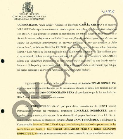 Documento de la Fiscalía sobre Javier Ayuso.