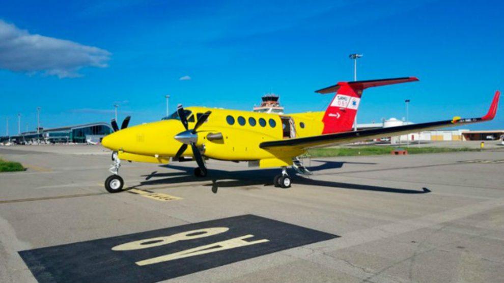 El avión ambulancia que cubre el servicio de transporte sanitario en Mallorca.