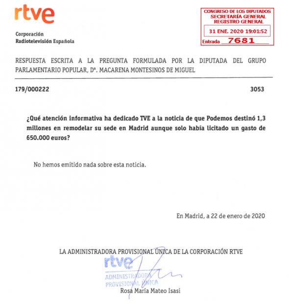Mateo admite al Congreso que TVE no difundió informaciones sensibles para PSOE y Podemos