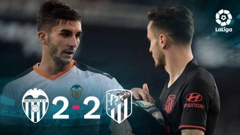 Valencia y Atlético empataron en Mestalla. (AFP)