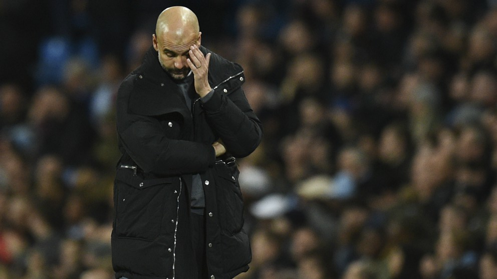 Pep Guardiola, durante un partido del City. (AFP)