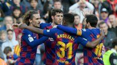 Los jugadores del Barça celebran un gol ante el Getafe. (AFP)