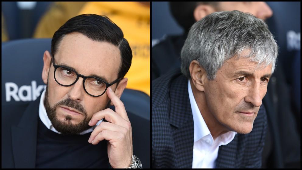 Bordalás y Setién antes del partido. (AFP)