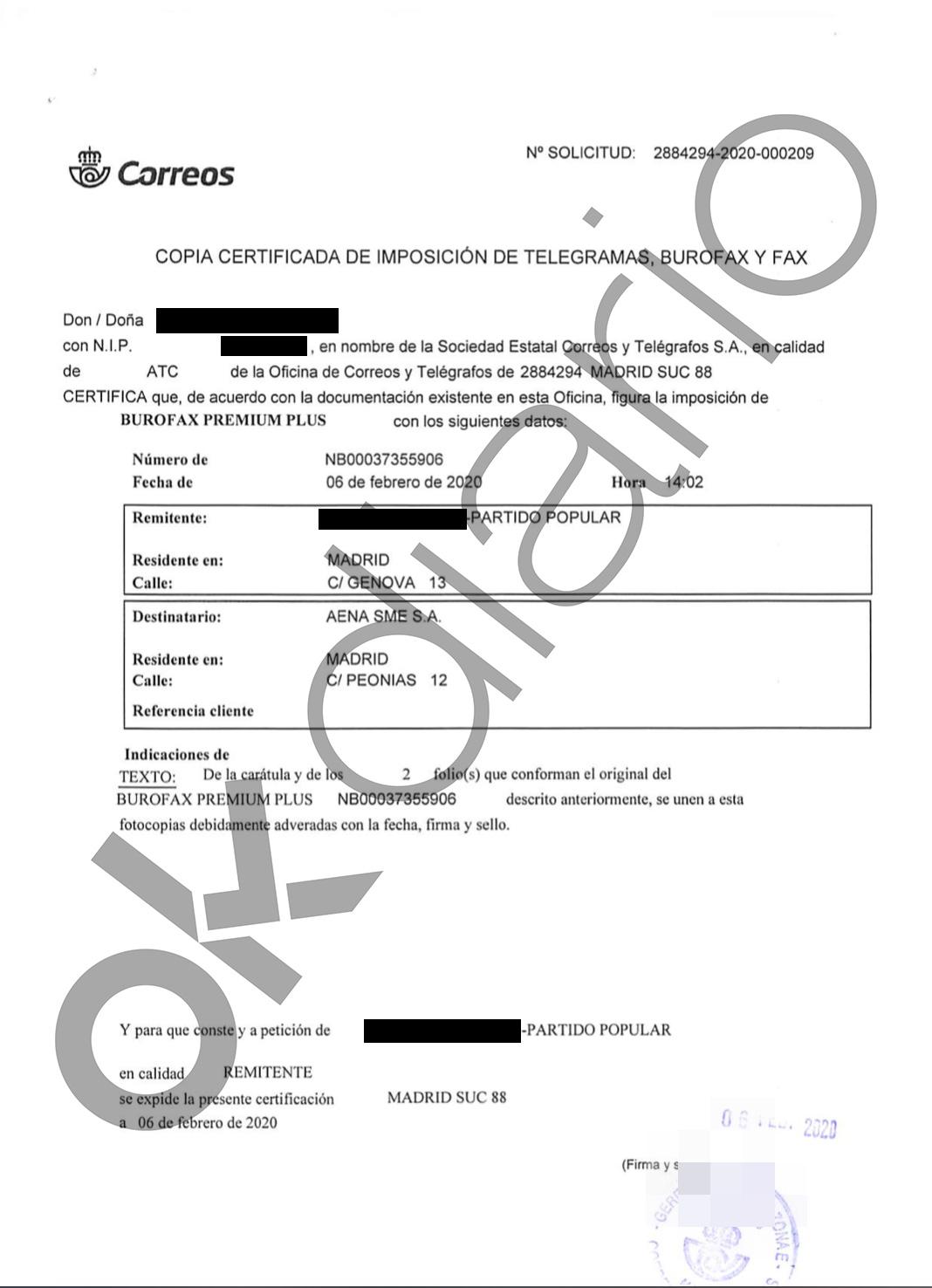 El PP exige por burofax al Gobierno que no destruya las grabaciones de la visita de Delcy Rodríguez