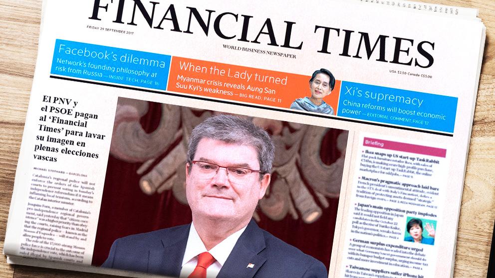 El PNV y el PSOE pagan por un artículo a favor de Bilbao en el 'Financial Times'.